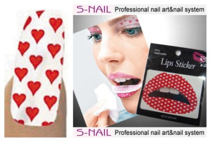 Lip Tattoo & 16 Nails White/Red Hearts Face Body Paint Makeup
