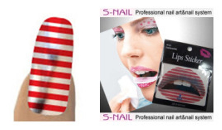 Lip Tattoo & 16 Nails Red - White Stripe Face Body Paint Makeup