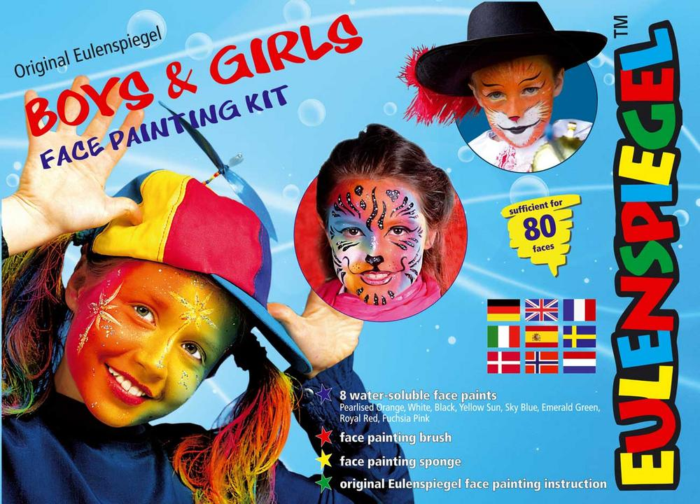 8 Colour Palette Boys & Girls in English Face Body Paint Makeup Fancy Dress