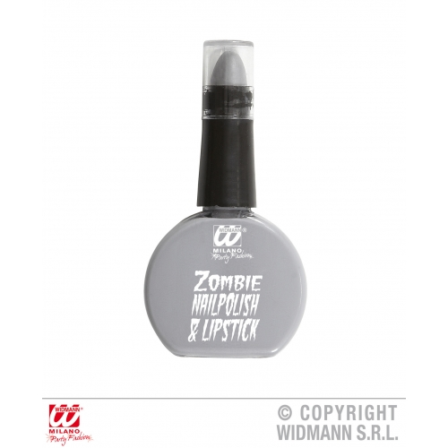 Zombie Grey Polish Lipstick Combo Makeup for Halloween Stage Accessory
