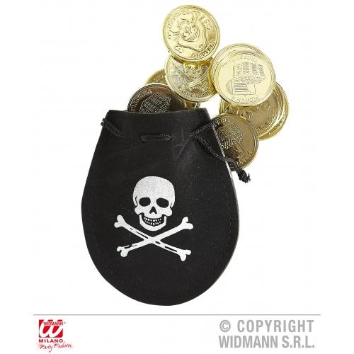 PIRATE POUCH W/ DOUBLOONS Accessory for Buccaneer Sailor Jack Blackbeard Fancy Dress