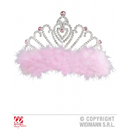 PINK MARABOU TIARA WITH Hat Accessory for Princess Fairy Queen Fancy Dress