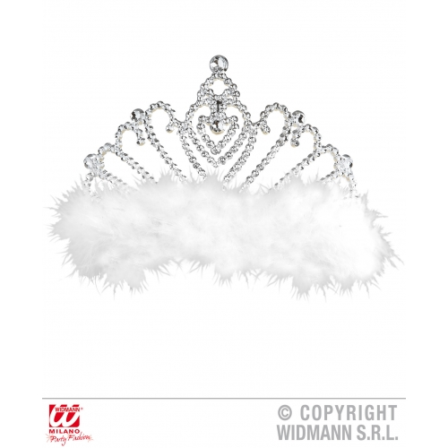 WHITE MARABOU TIARA WITH Hat Accessory for Princess Fairy Queen Fancy Dress