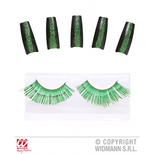 Set Of Green Eyelashes and 10 Glitter Nails Makeup for Accessory Stage Accessory