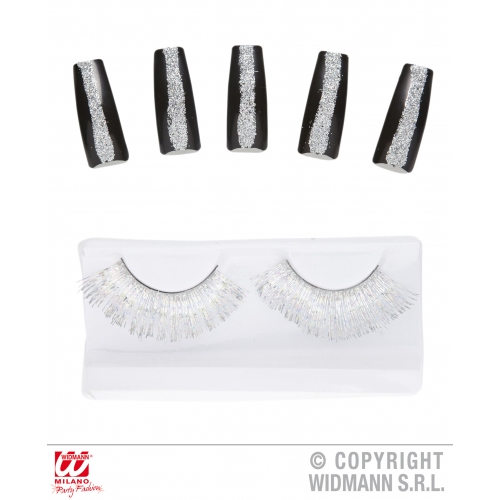 Set Of Silver Eyelashes & 10 Glitter Nails Makeup for Accessory Stage Accessory
