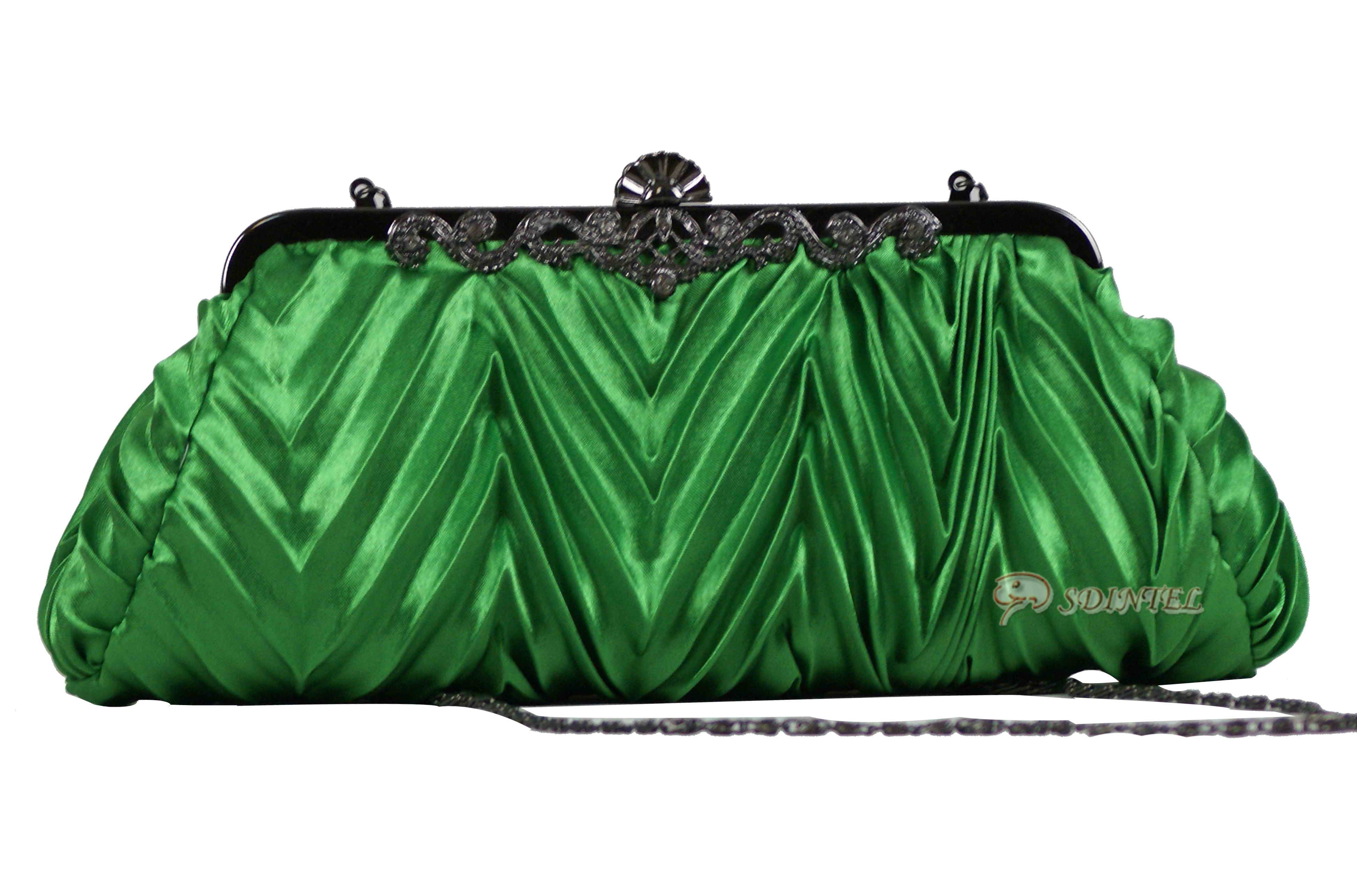 LADIES SATIN EVENING WEDDING PROM PARTY CLUTCH HANDBAG WOMEN GIRL BAG GREEN 20
