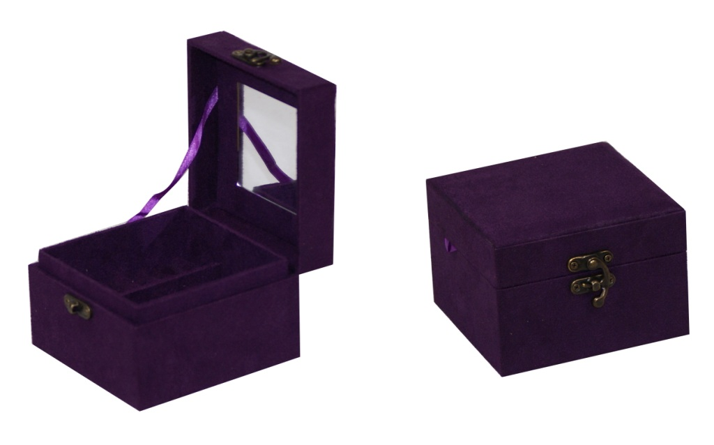 Suede Square Jewelry Jewel Storage Container Vanity Case Gift Set Box J03 Purpl