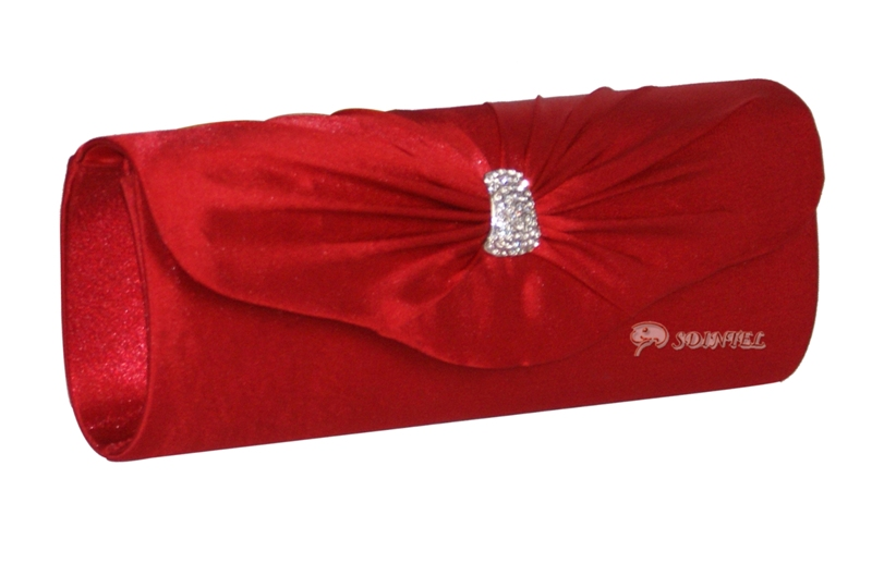 LADIES SATIN EVENING WEDDING PROM CLUTCH HANDBAG WOMEN SHOULDER BAG L RED 07