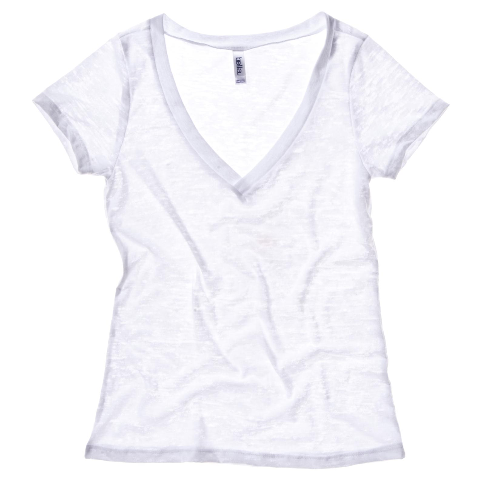 New bella canvas womens ladies sheer burnout v neck t for Best v neck t shirts women s