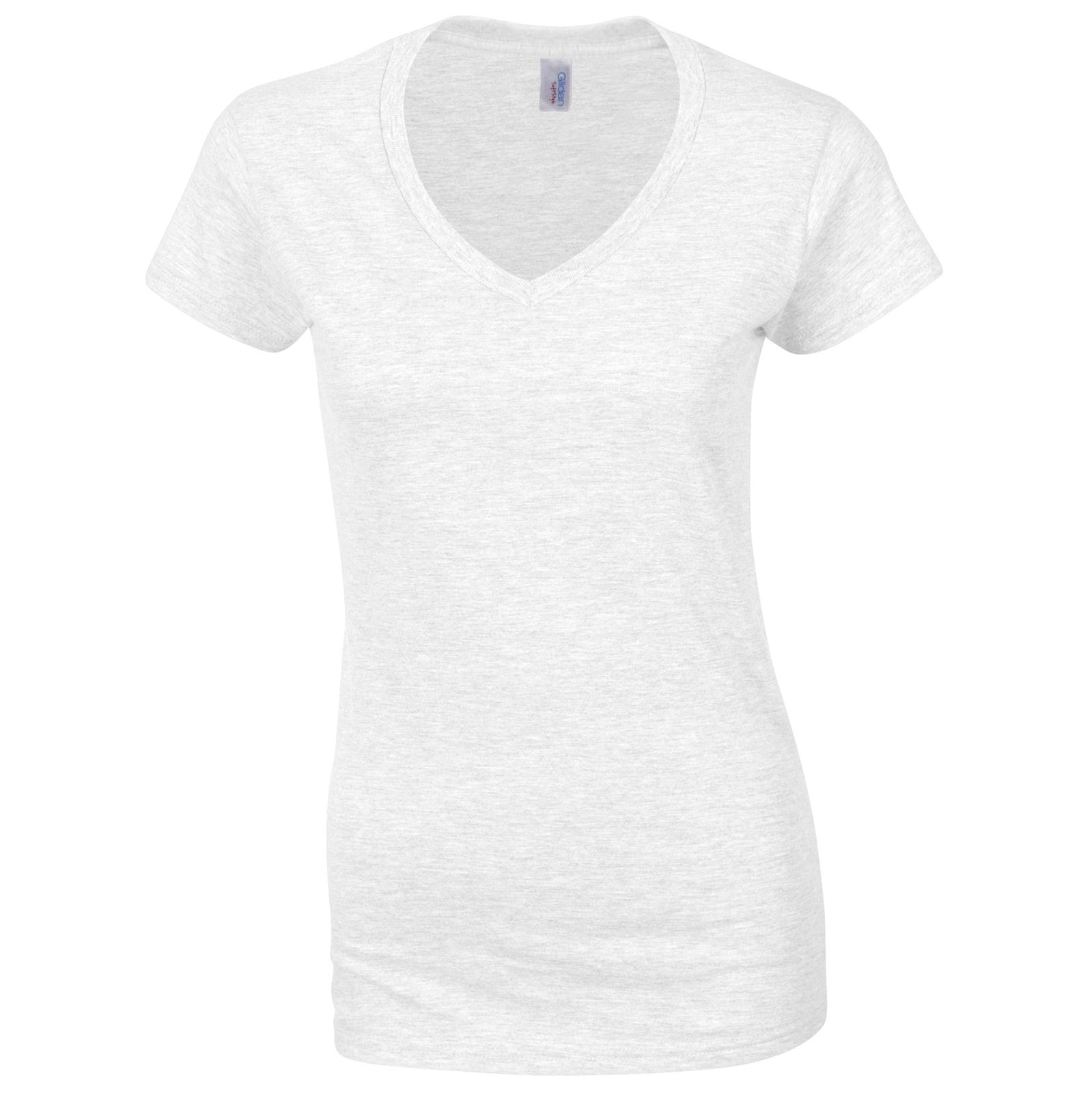 New Gildan Womens Ladies Soft Cotton Fitted V Neck T Shirt