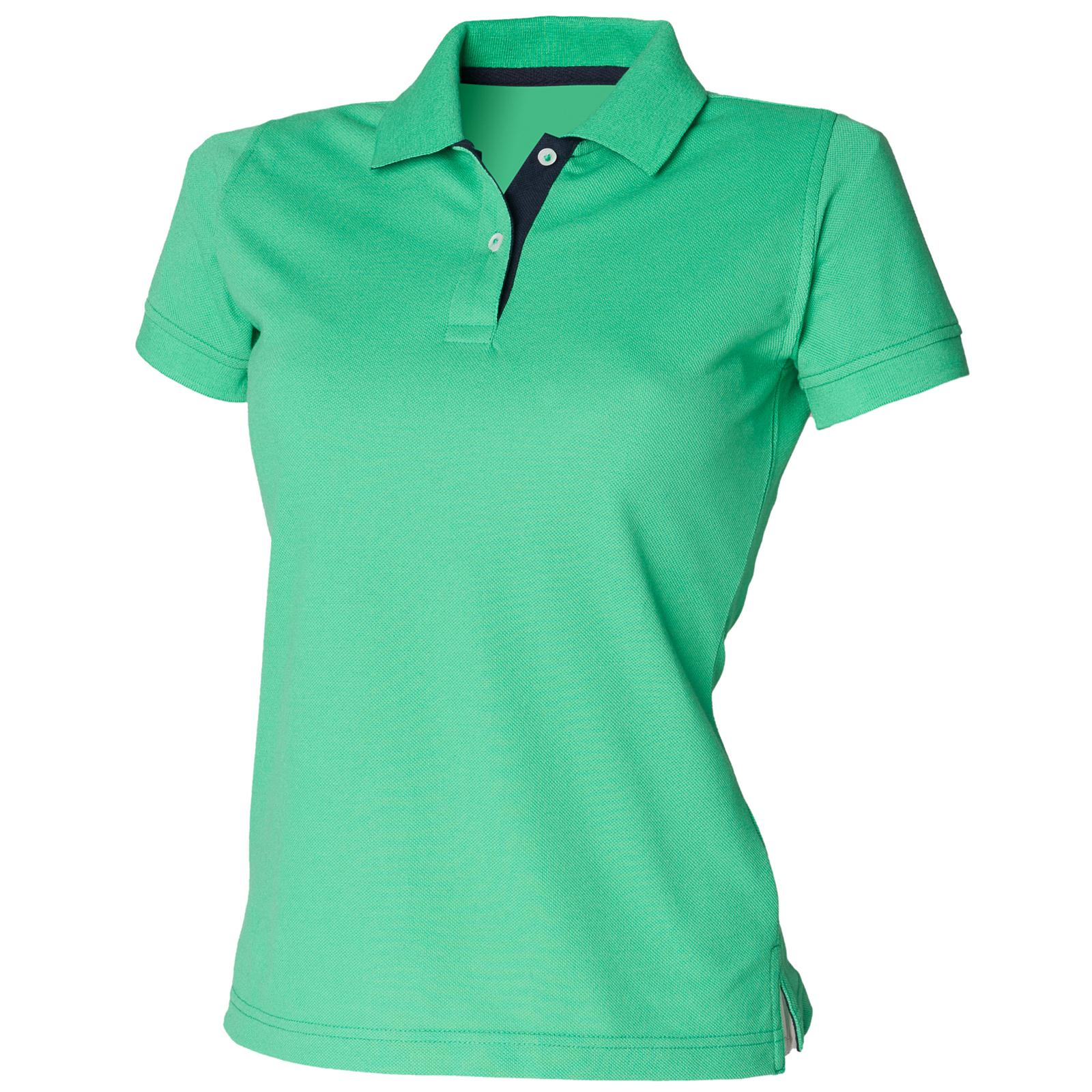 new henbury womens ladies contrast 65 35 pique polo shirt 5 colours size 10 18. Black Bedroom Furniture Sets. Home Design Ideas