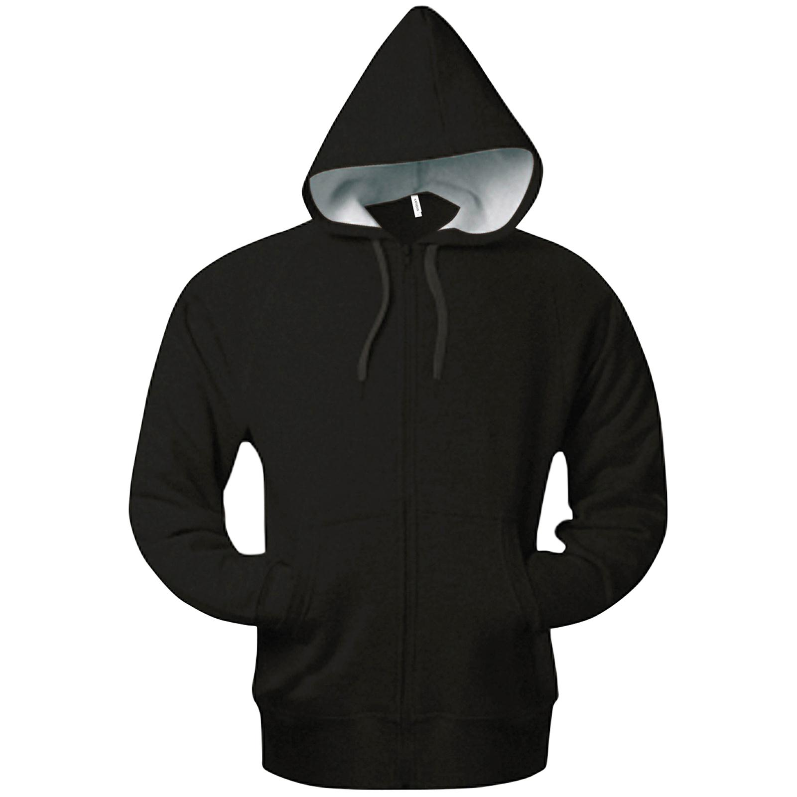New KARIBAN Mens Heavy Zip Up Contrast Hoodie Sweatshirt Jacket 6