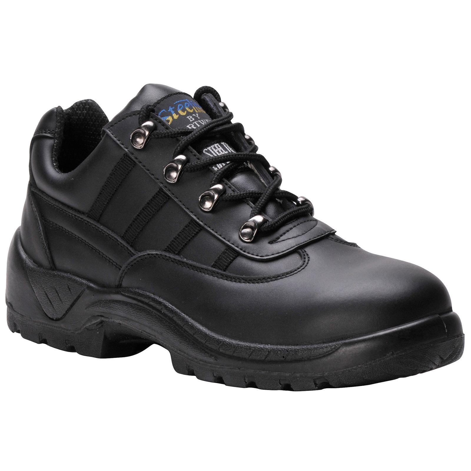 New PORTWEST Mens Work Safety Steelite Leather Trainer Shoes Black Size 5-12
