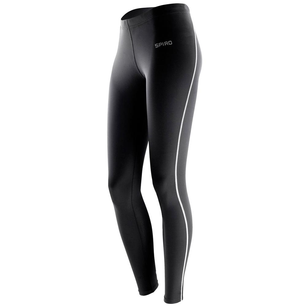 New SPIRO Womens Ladies Athletic Sport Bodyfit Base Layer Leggings Black 3 Sizes