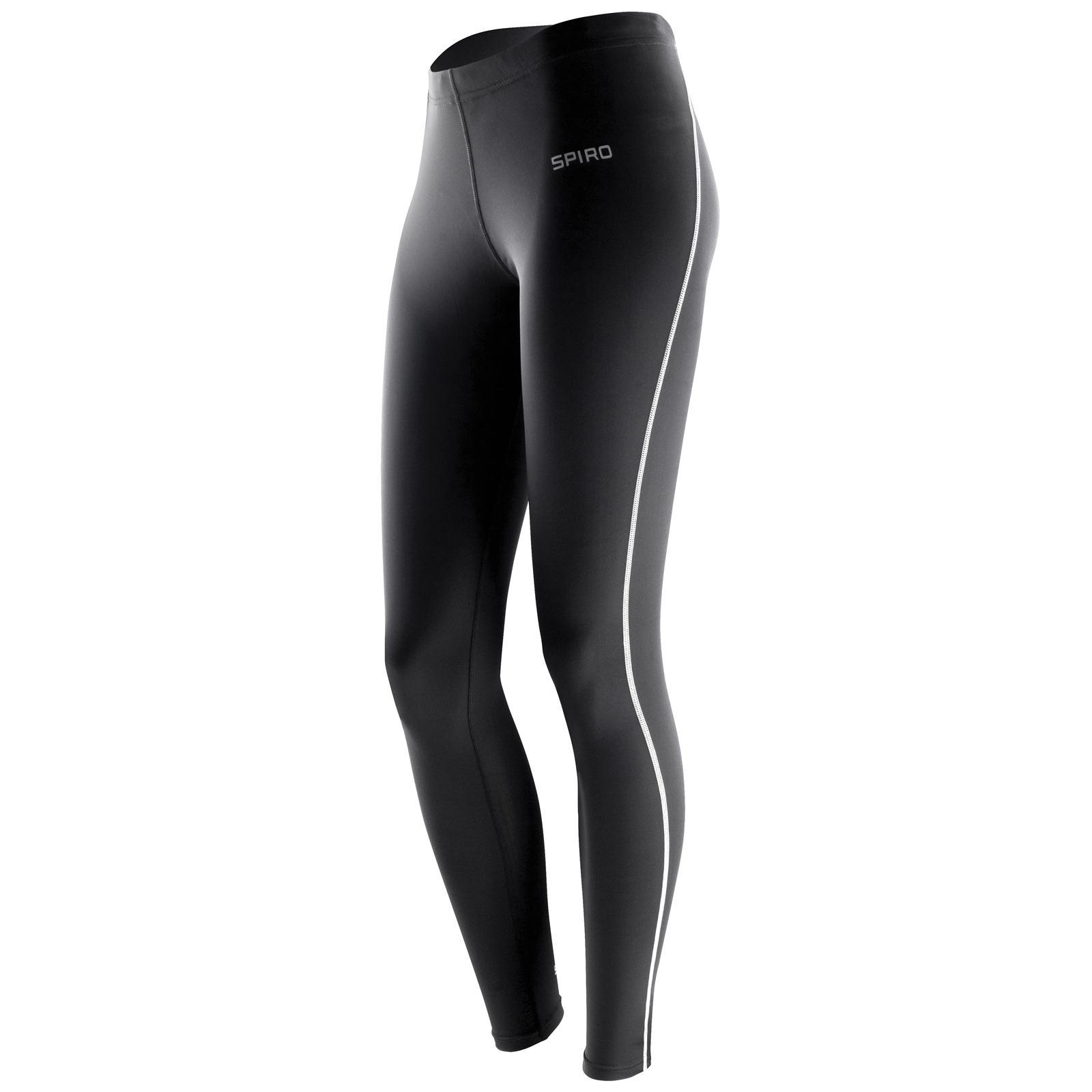 New-SPIRO-Womens-Ladies-Athletic-Sport-Bodyfit-Base-Layer-Leggings-Black-3-Sizes
