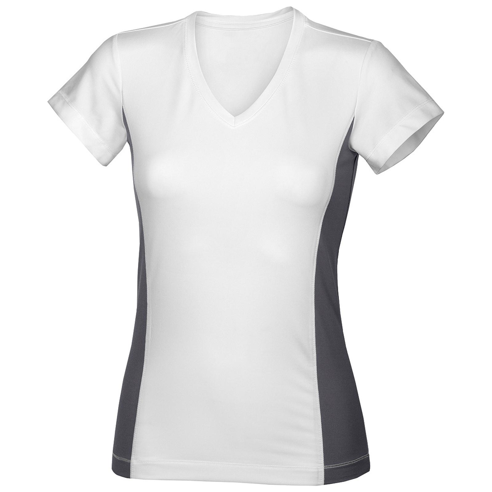 new hanes womens ladies sports gym v neck contrast t shirt