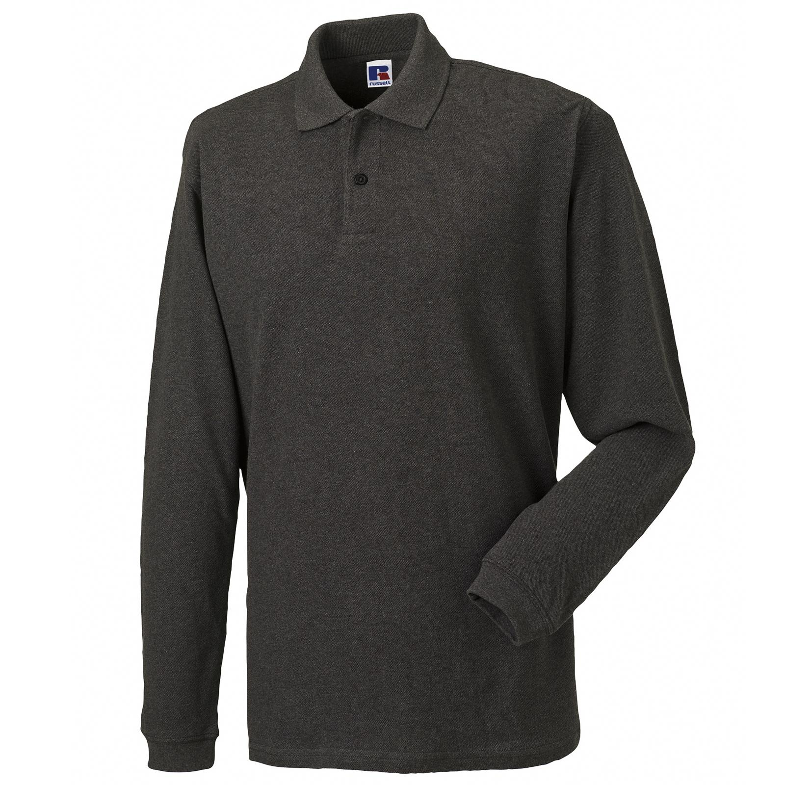 New russell long sleeve 100 cotton pique polo shirt in 5 for Long sleeve 100 cotton shirts