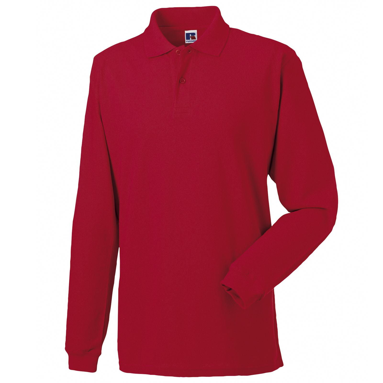 New Russell Long Sleeve 100 Cotton Pique Polo Shirt In 5