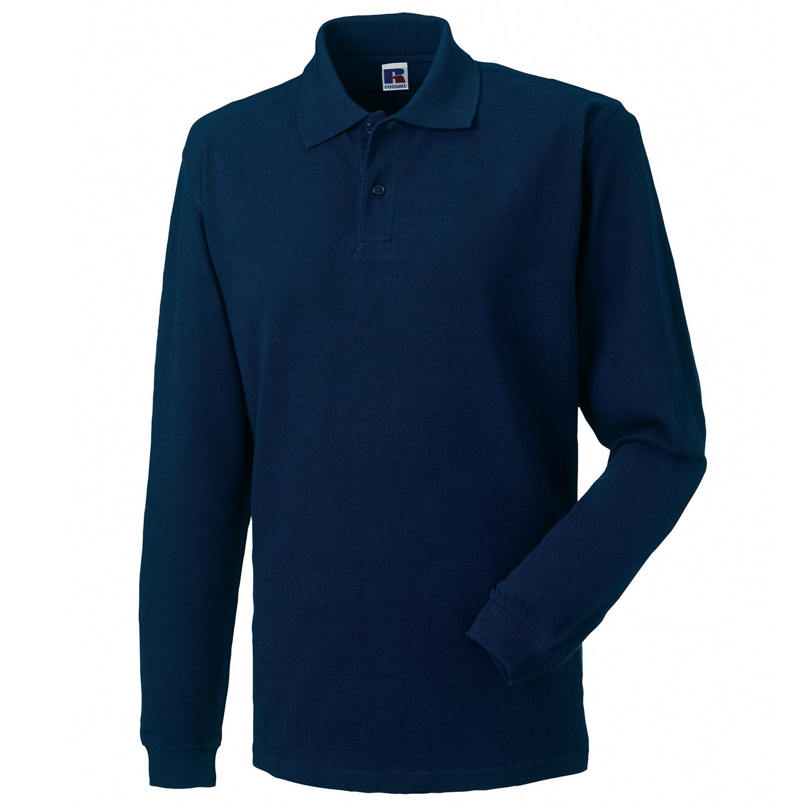 New russell long sleeve 100 cotton pique polo shirt in 5 for Mens long sleeve pique polo shirts