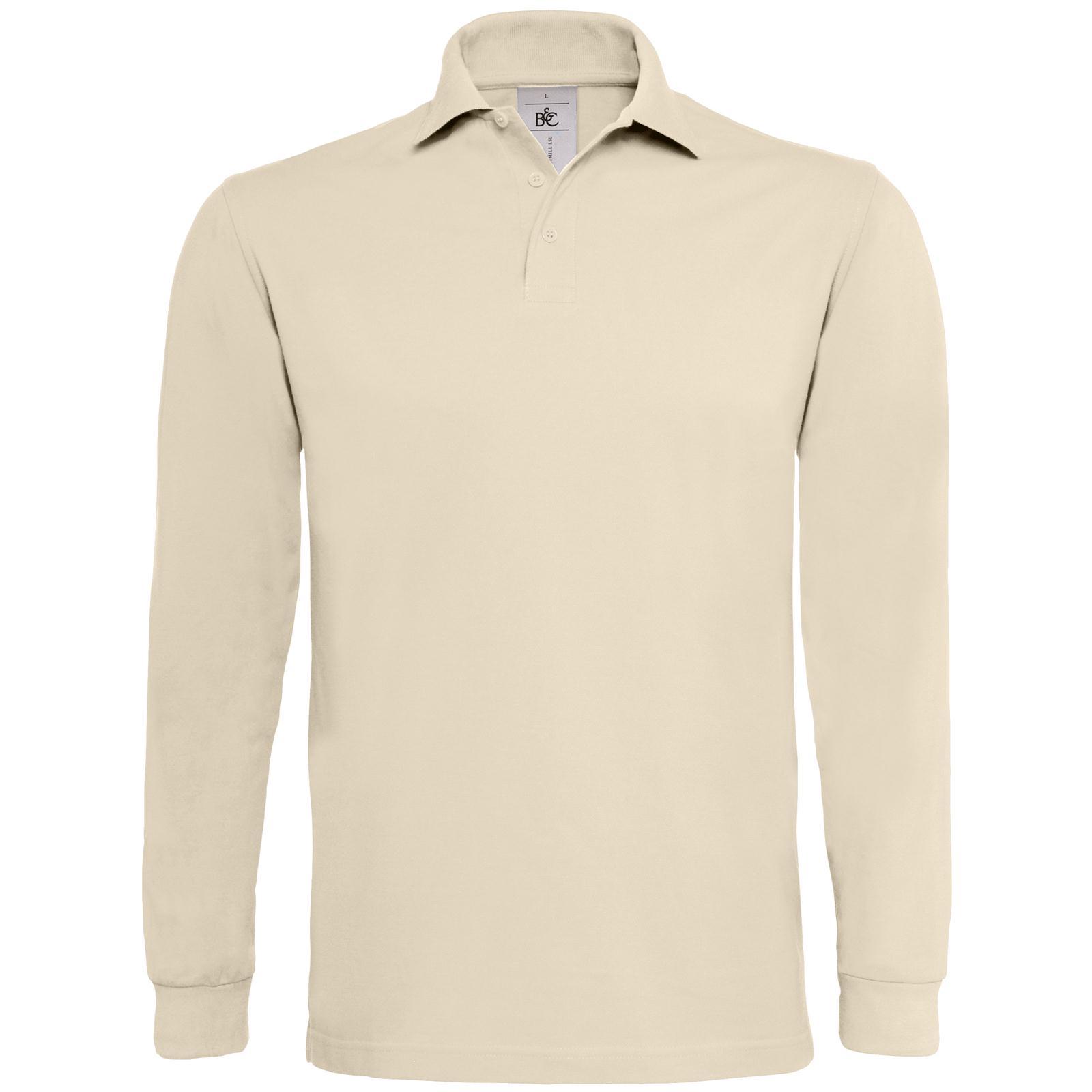 New b c mens heavymill cotton long sleeve pique polo shirt for Mens long sleeve pique polo shirts