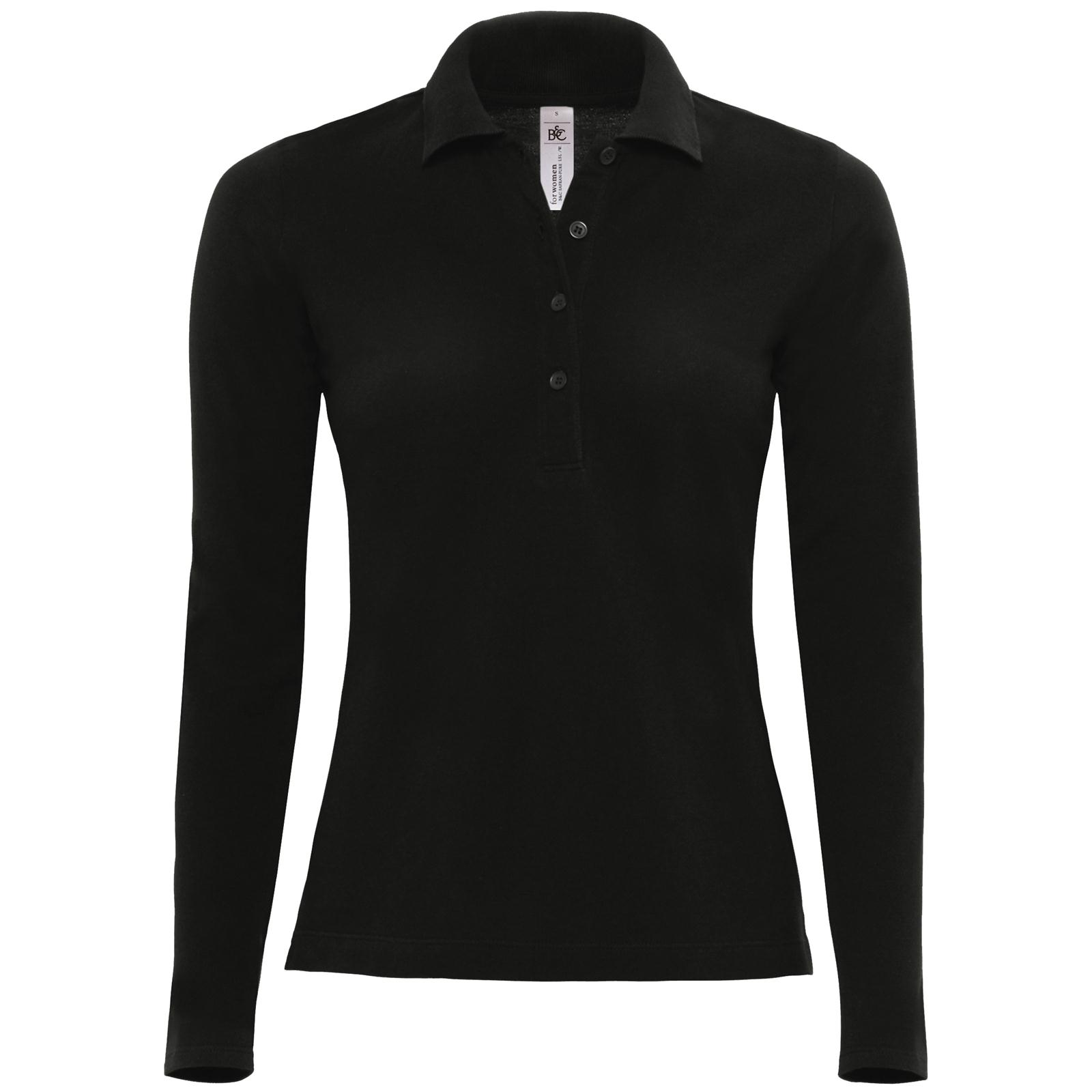 new b c womens ladies safran cotton long sleeve pique polo. Black Bedroom Furniture Sets. Home Design Ideas