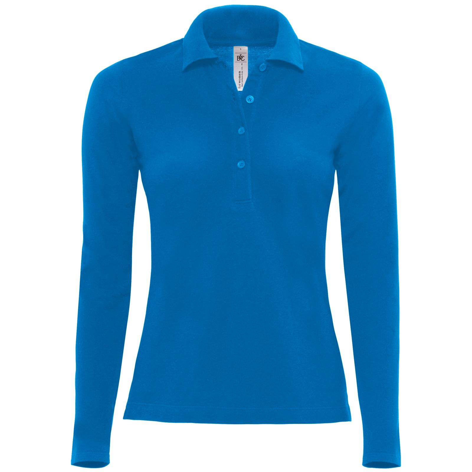 New b c womens ladies safran cotton long sleeve pique polo for Woman s polo shirts
