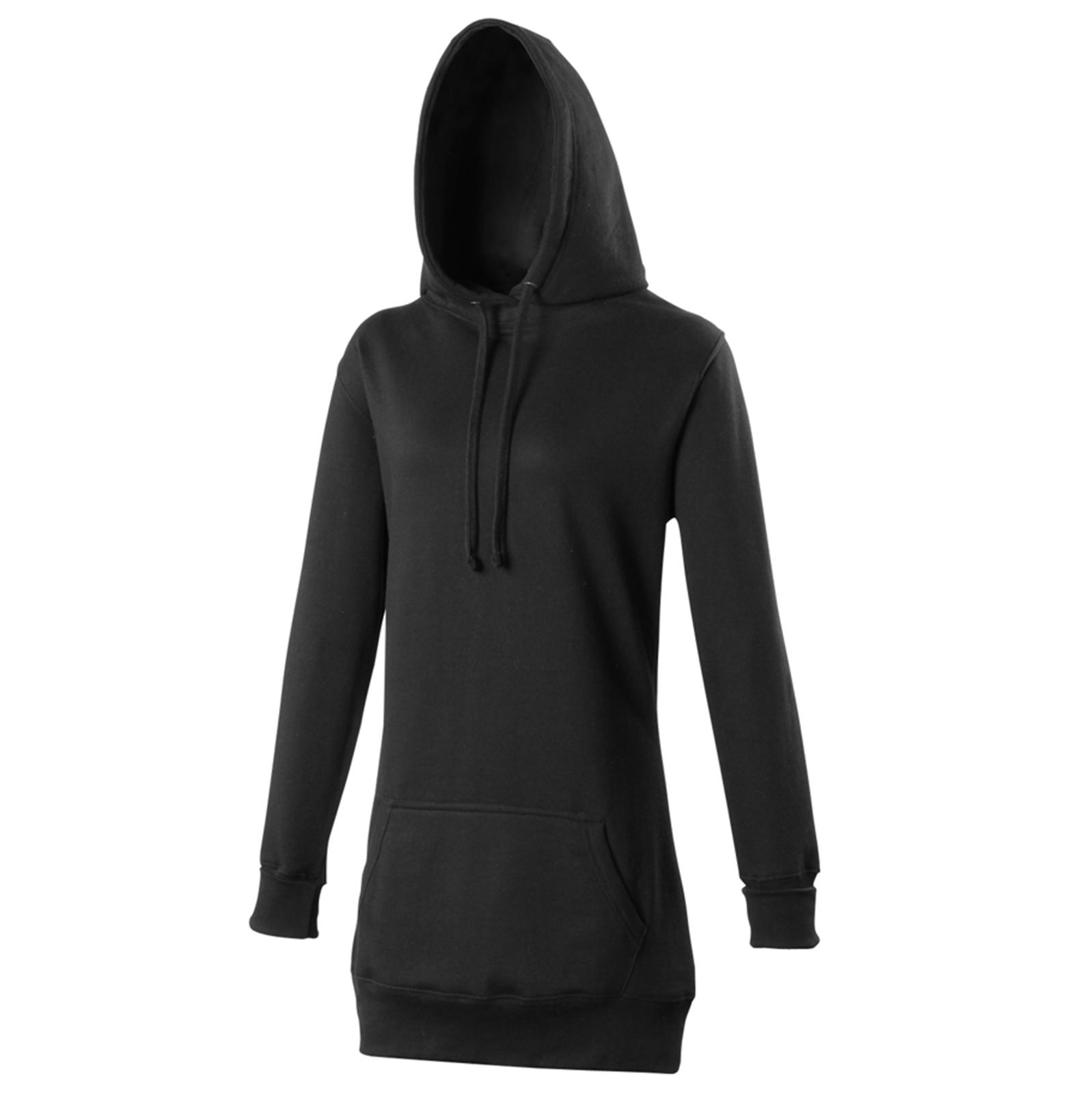New JUST HOODS Womens Ladies Girlie Fashion Longline Hoodie 6 colours XS S M L