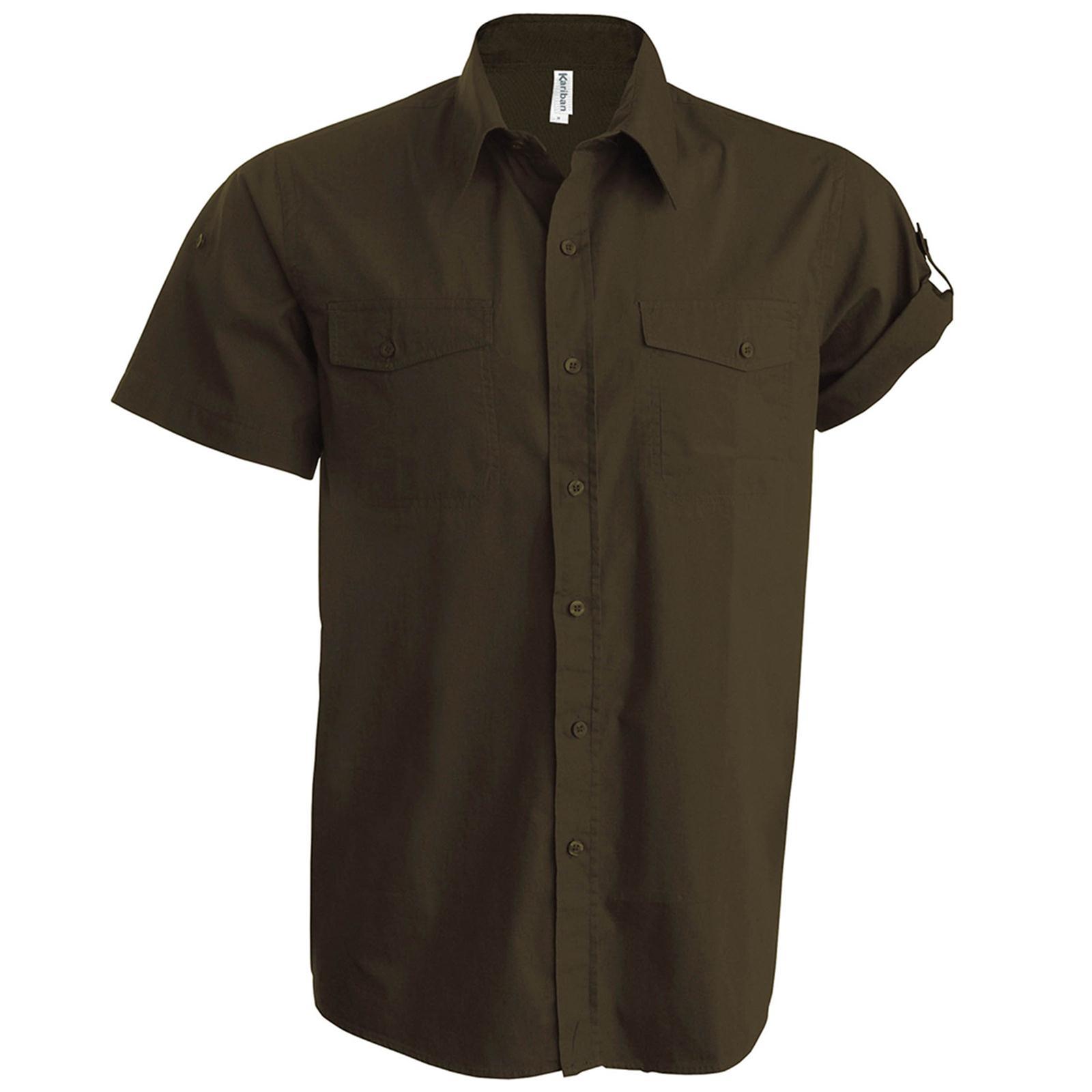 New Kariban Mens Tropical Safari Short Tab Sleeve Shirt In