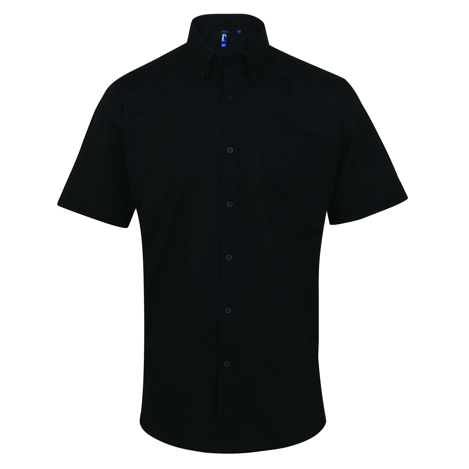 Premier Mens Signature Oxford Short Sleeve Collared Shirt Collar ...