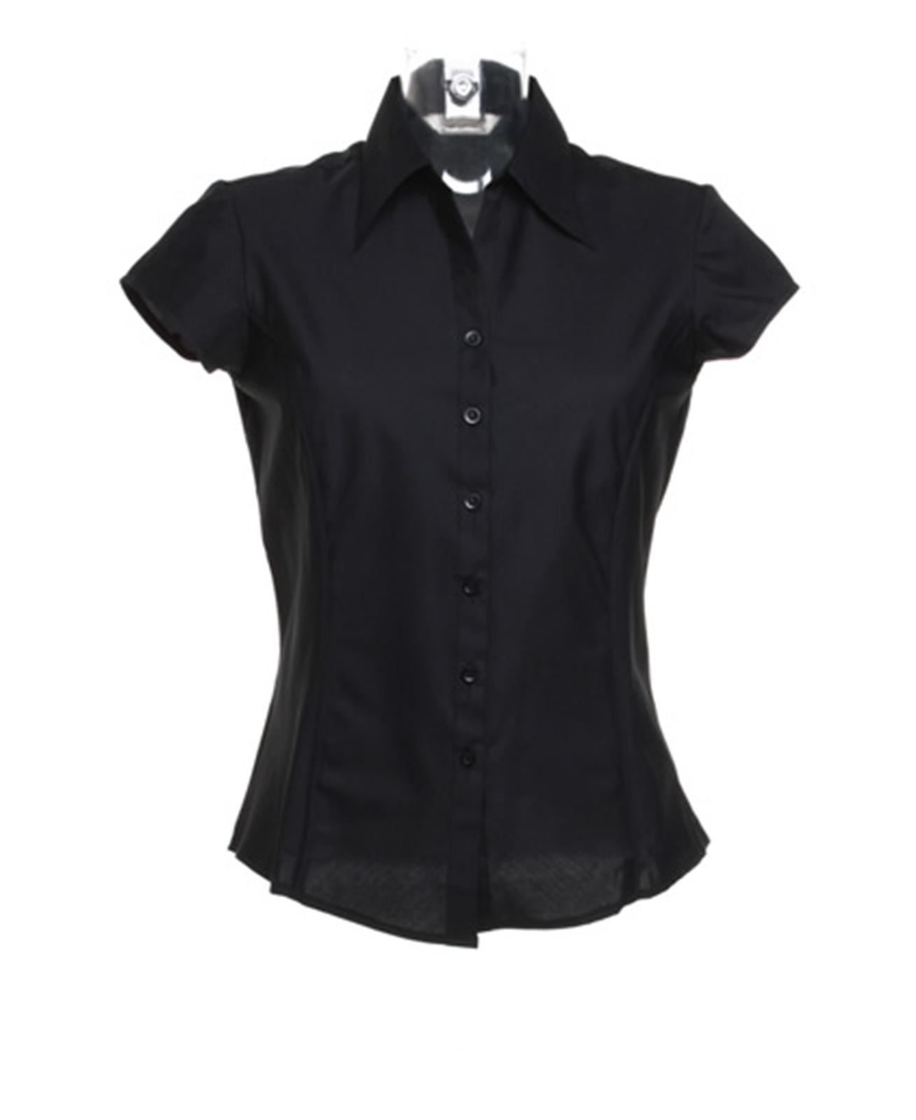 New bargear womens ladies bar work short cap sleeved shirt for Black and white short sleeve shirts