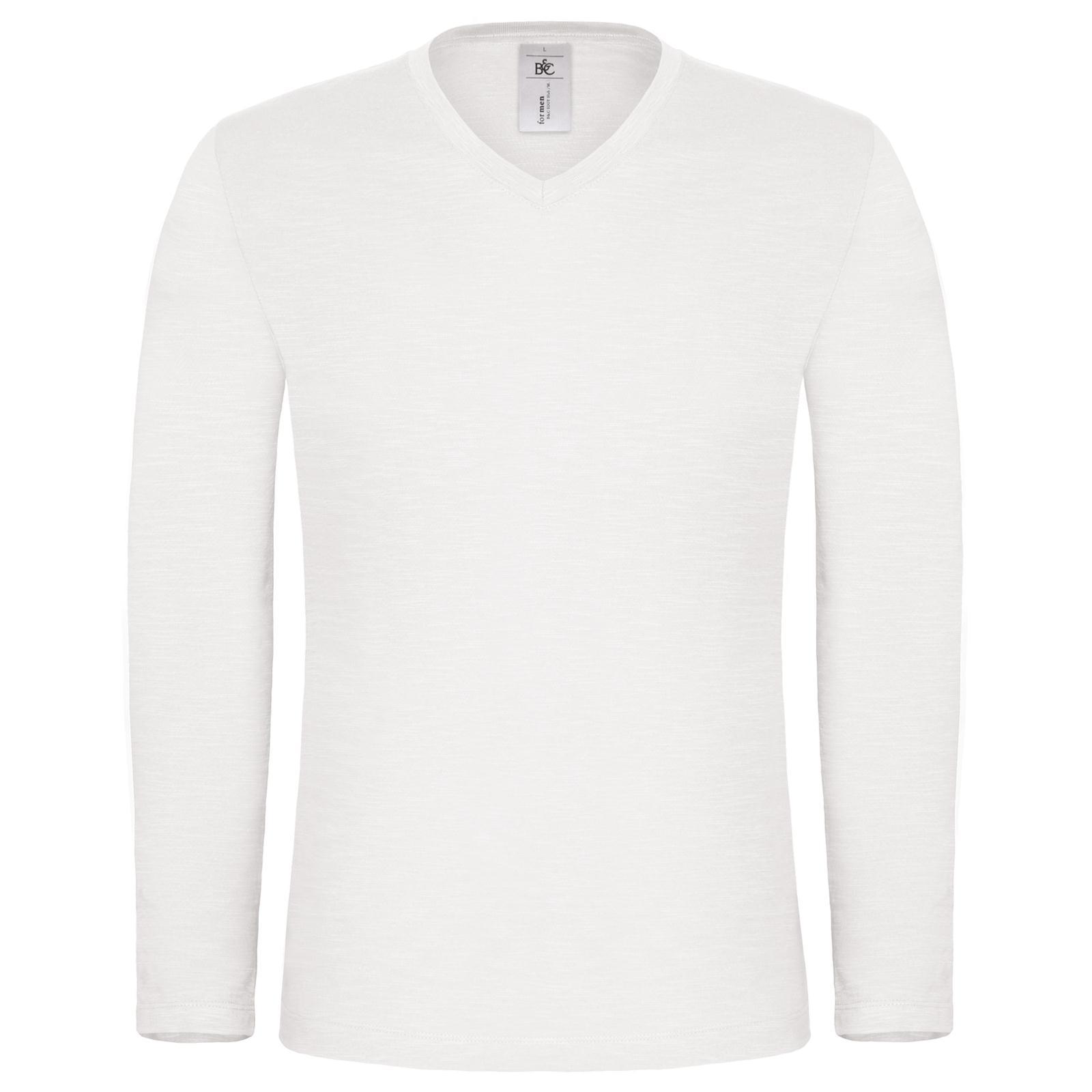 New B C Mens Iggy Slub Long Sleeve Cotton V Neck T Shirt