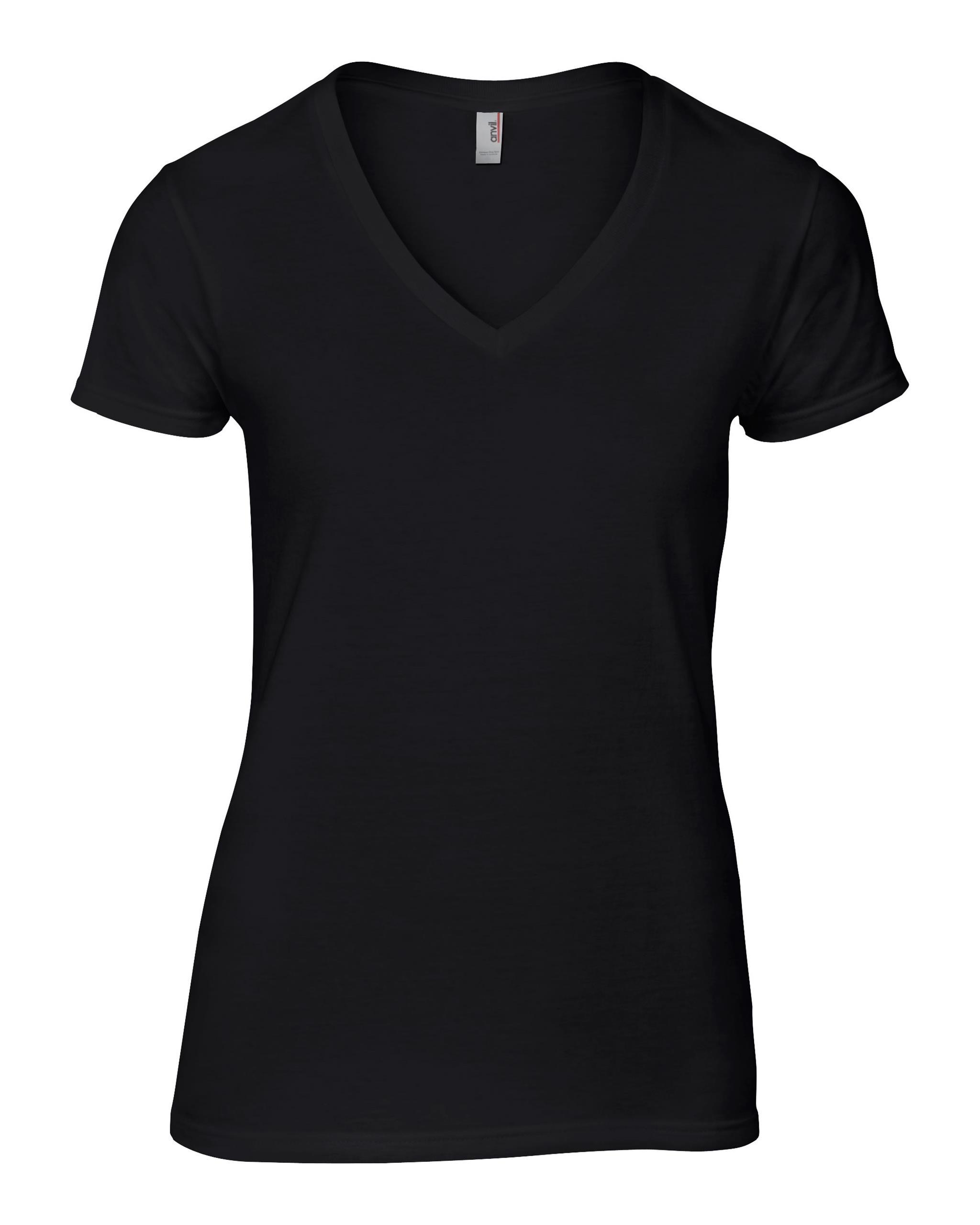 New anvil womens v neck tee ladies short sleeved basic t for V neck black t shirt women s