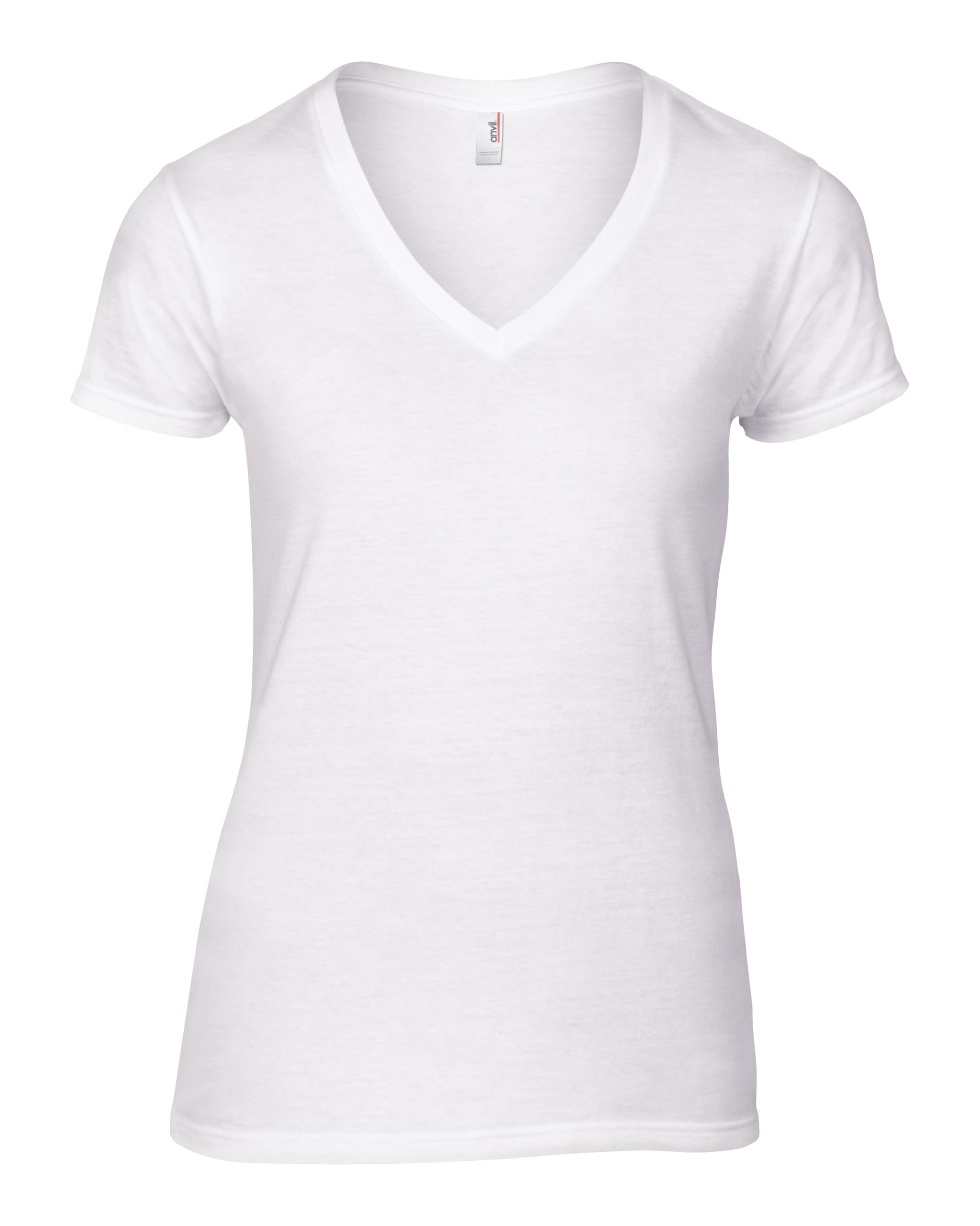 New anvil womens v neck tee ladies short sleeved basic t for Best v neck t shirts
