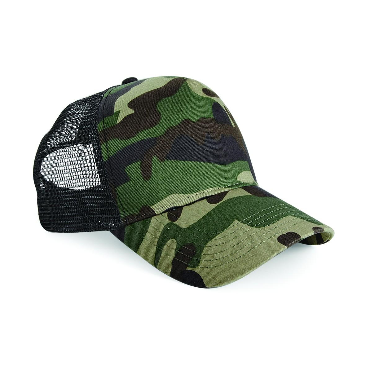Beachfield Womens Camp Print Mesh Truckers Snapback Casual Hip Hop Hat One Size