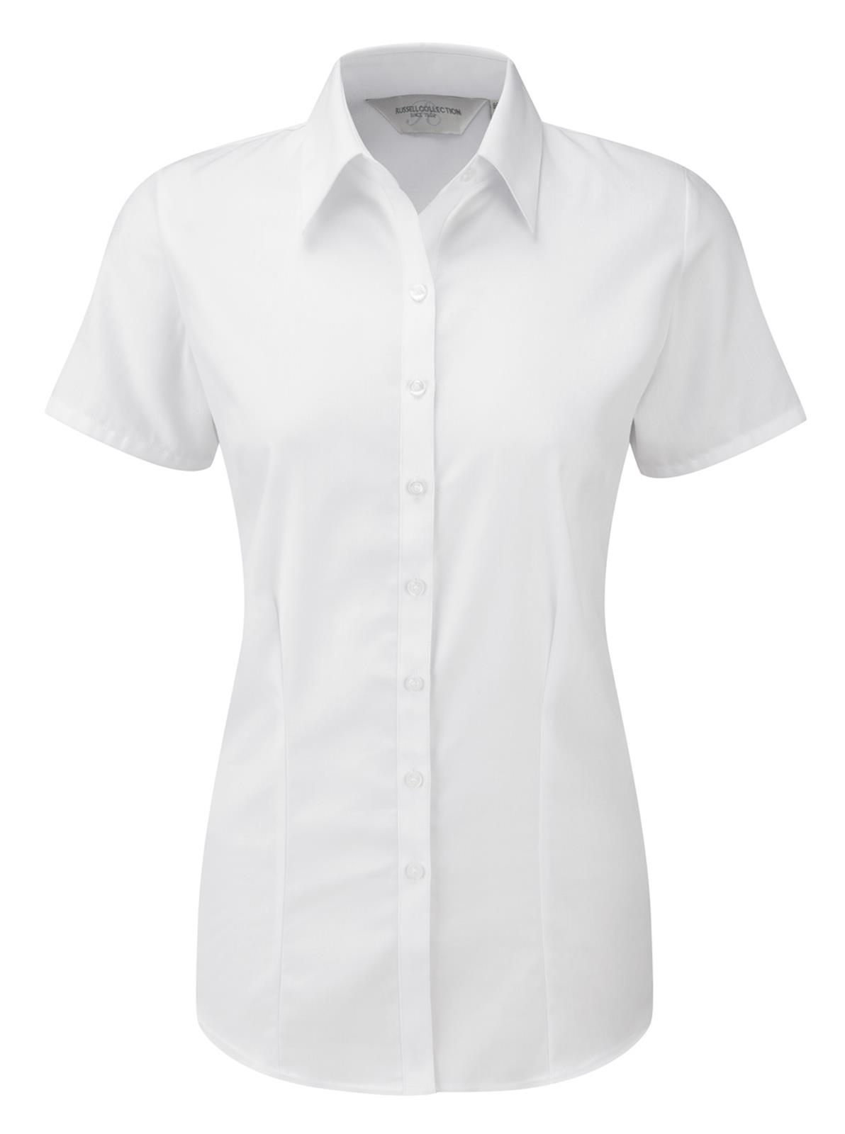 Russell-Collection-Womens-Short-Sleeve-Ladies-Herringbone-Shirt-Top-Size-XS-4XL
