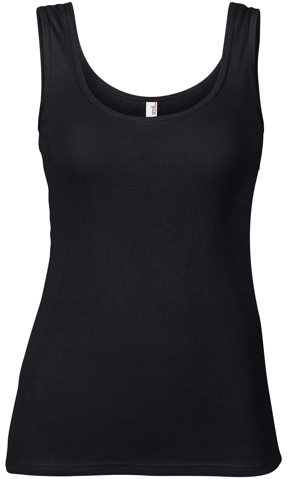Womens anvil cotton bound semi fitted sleeveless vest tank for Black sleeveless shirt womens