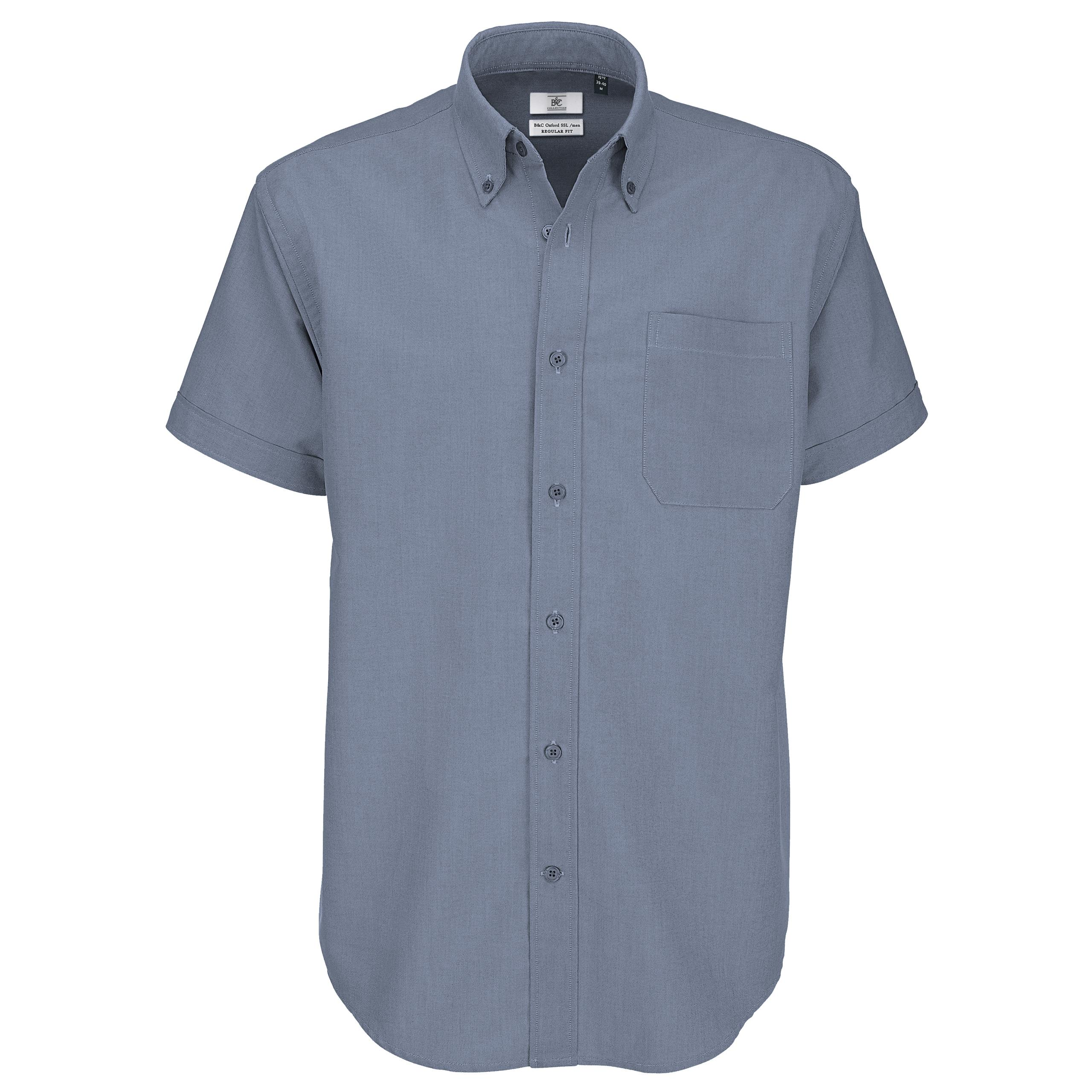 Mens b c collection soft button down collar short sleeve for Mens button collar shirts