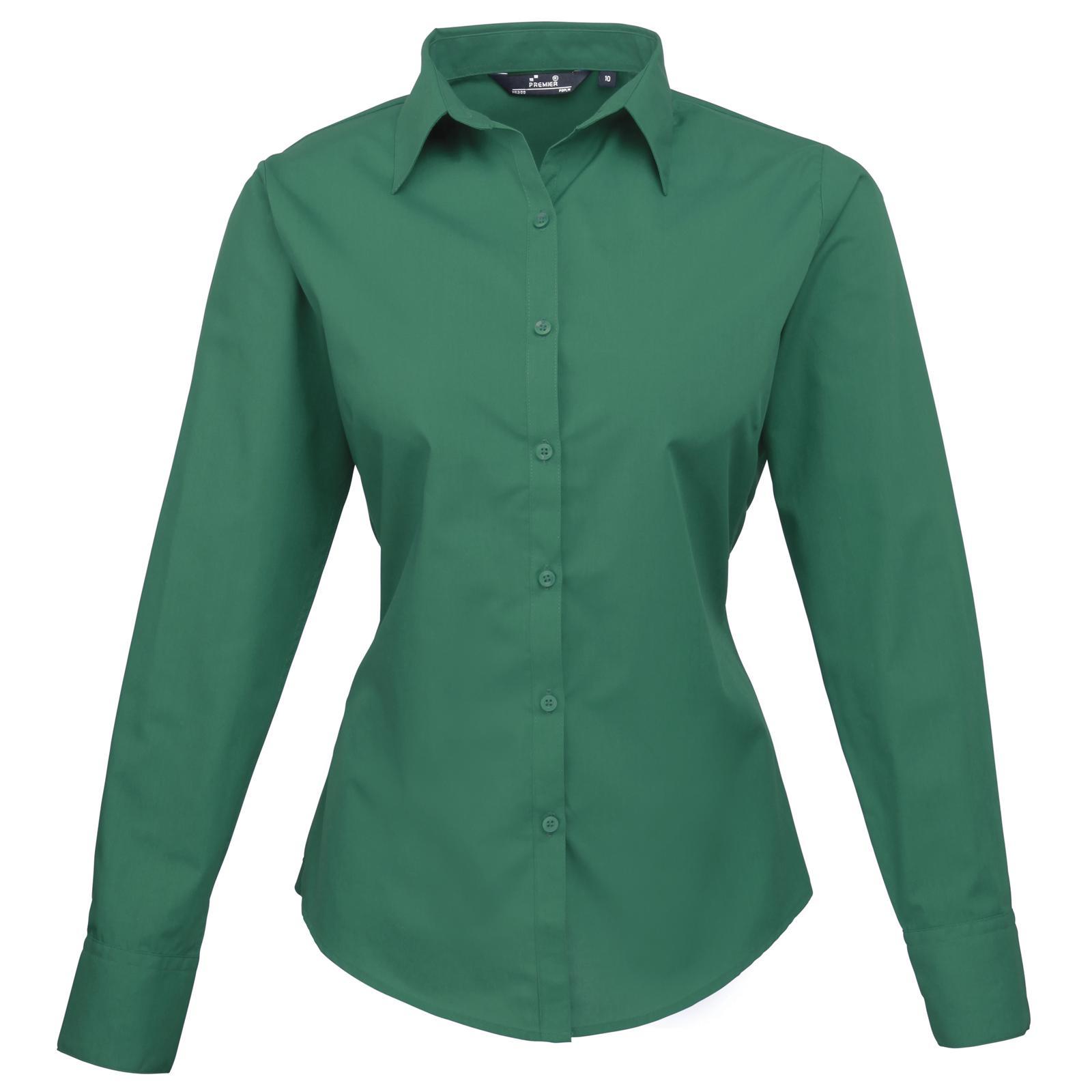 New premier womens ladies poplin long sleeve blouse shirt for Long sleeve poplin shirt