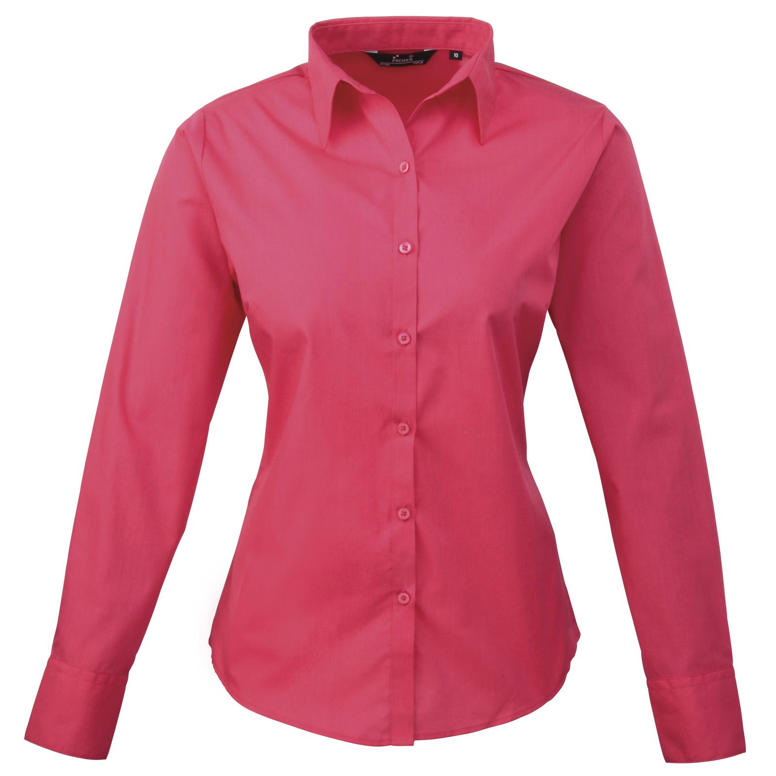 New premier womens ladies poplin long sleeve blouse shirt for Women s broadcloth shirts