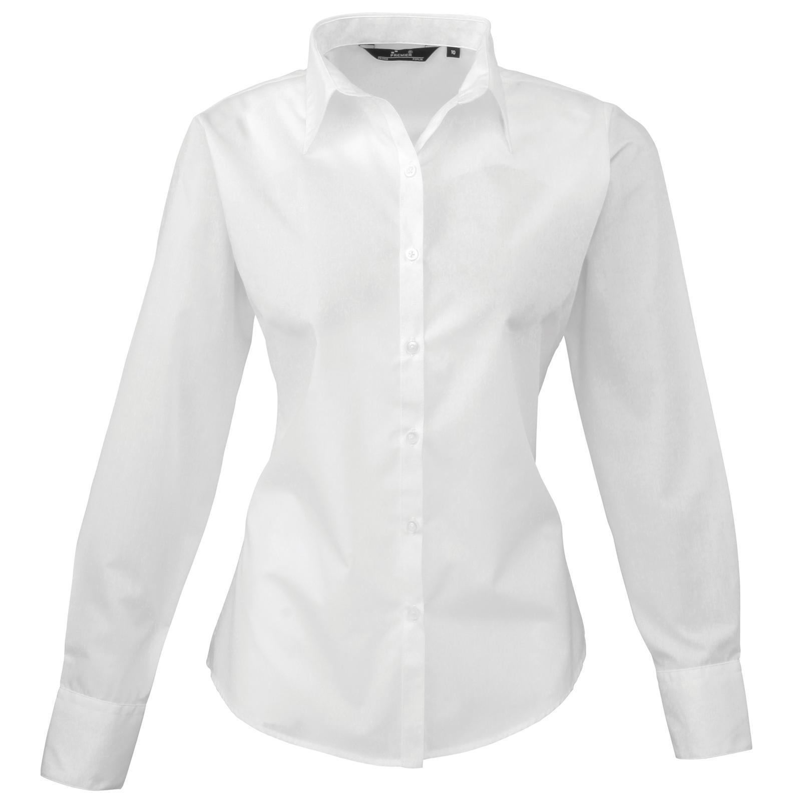 New PREMIER Womens Ladies Poplin Long Sleeve Blouse Shirt 24 Colours Size 6 - 26