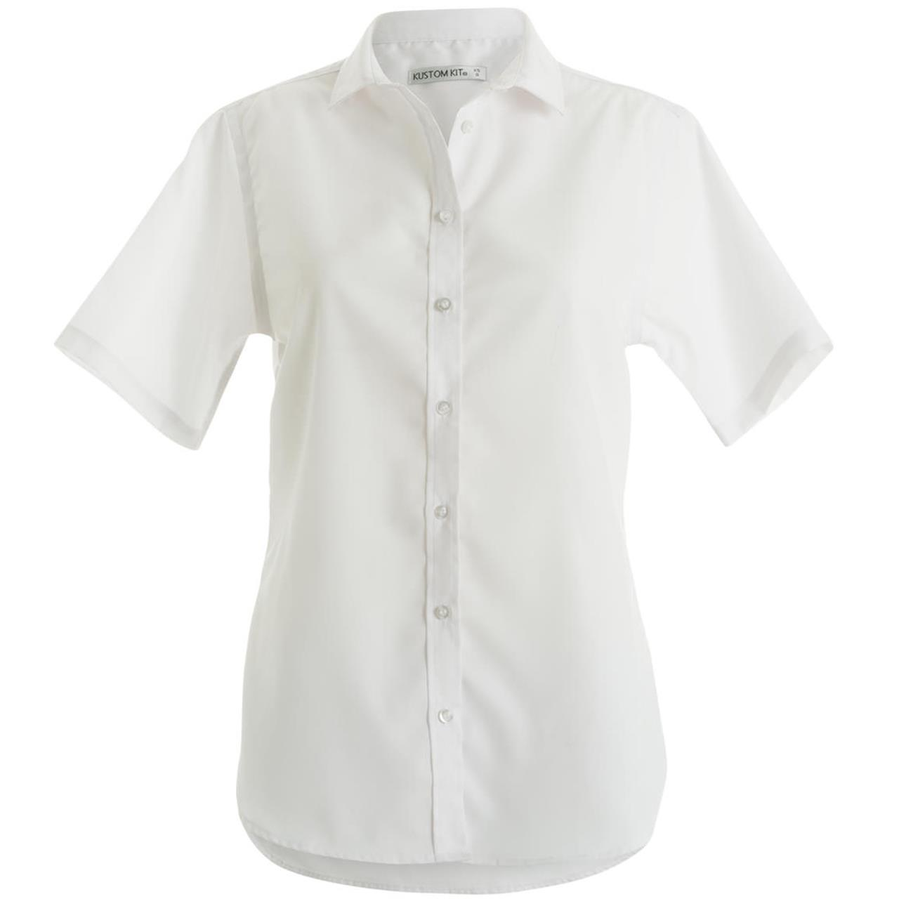 Womens Kustom Kit Non Iron Cotton Button Collared Short