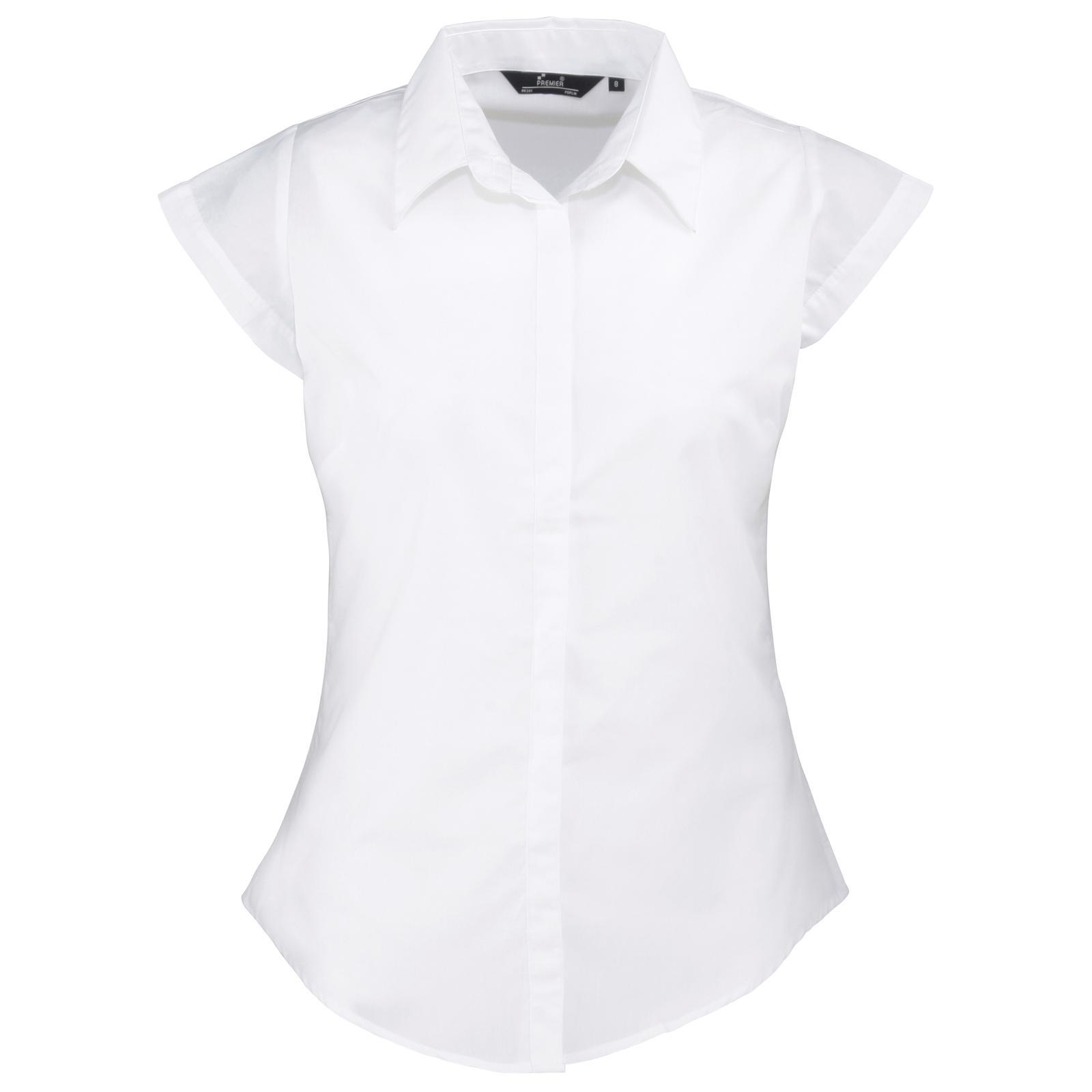 New PREMIER Womens Ladies Cap Sleeve Poplin Work Blouse in Black ...