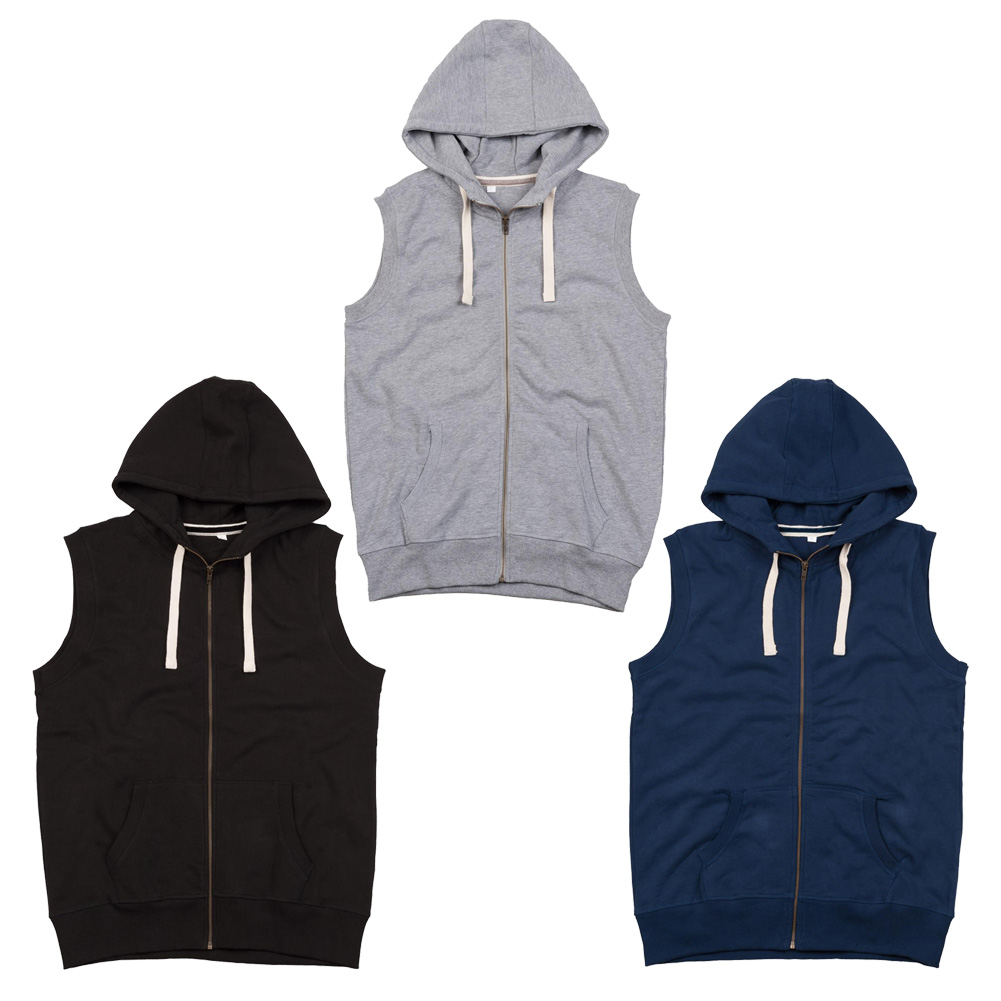 Mens Mantis Full Length Brass-Effect Zipper up Sleeveless Hoodie ...