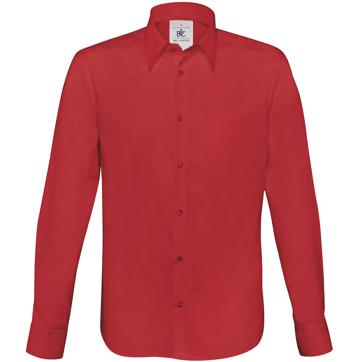 XXL New B/&C Mens London Long Sleeve Stretch Cotton Poplin Shirt in 3 Colours S
