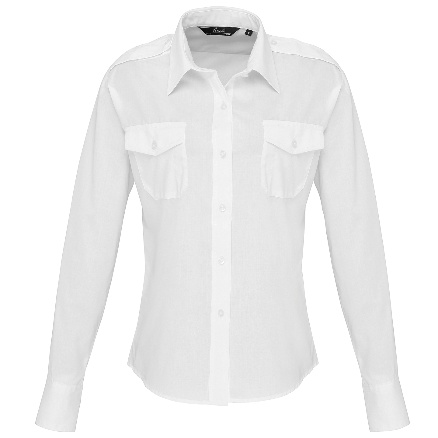 Women/'s Premier Long Sleeve Pilot Shirt Chest Pockets Stiffened Collar Size 8-26