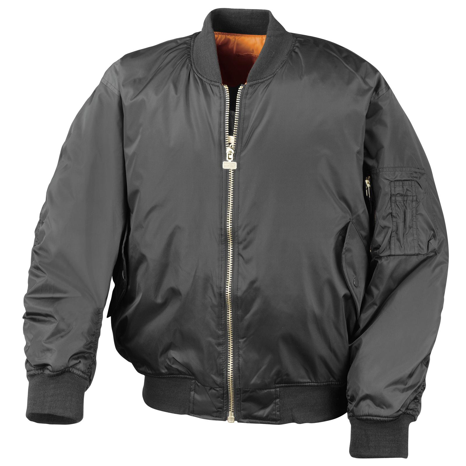New RESULT Mens Casual Reversible Flying Bomber Jacket in Black ...