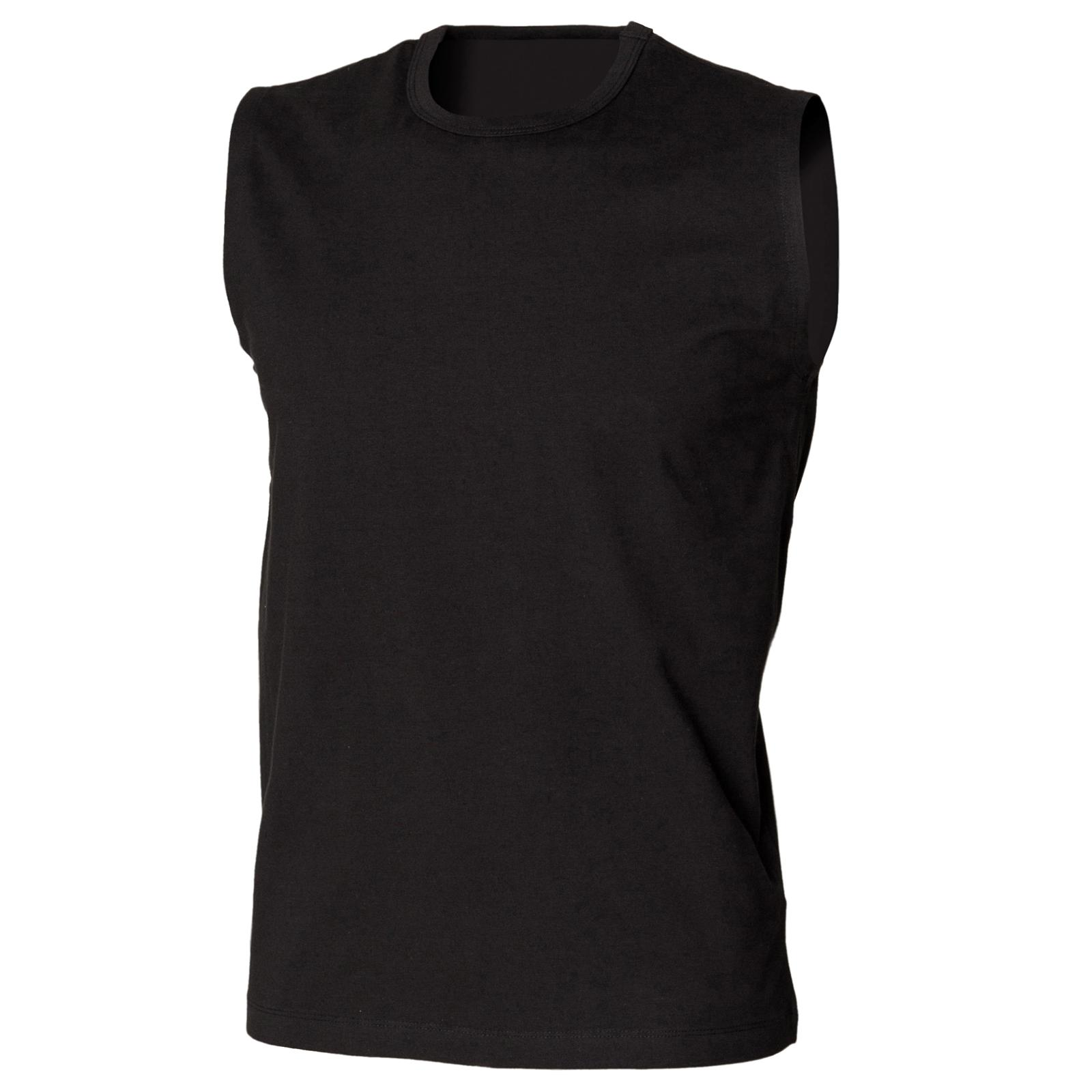 Black t shirt xl - New Skinni Fit Mens Stretch Sleeveless T Shirt Vest Top In Black White S Xl