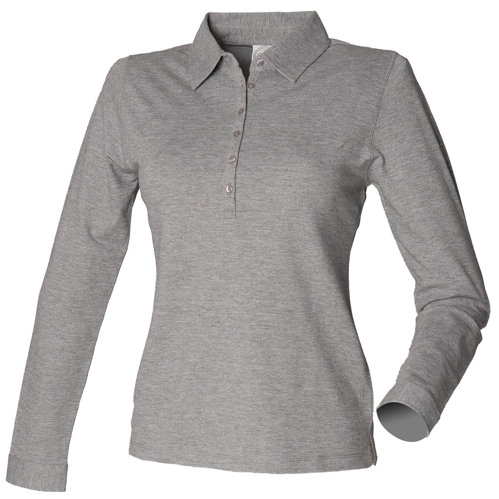 46b2bac86 New SKINNI FIT Womens Ladies Long Sleeve Stretch Polo Shirt 4 ...