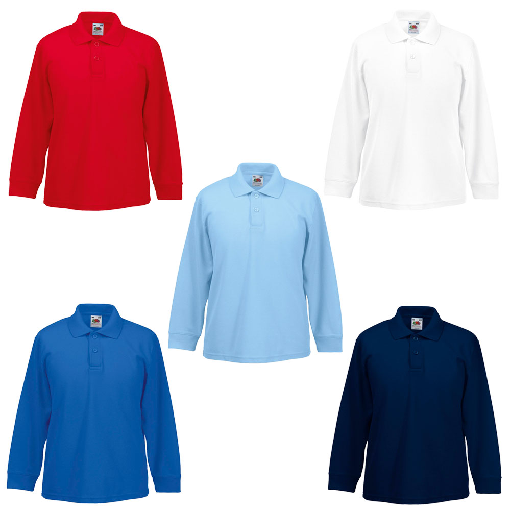 New Fruit Of The Loom Childrens Kids Long Sleeve Polo