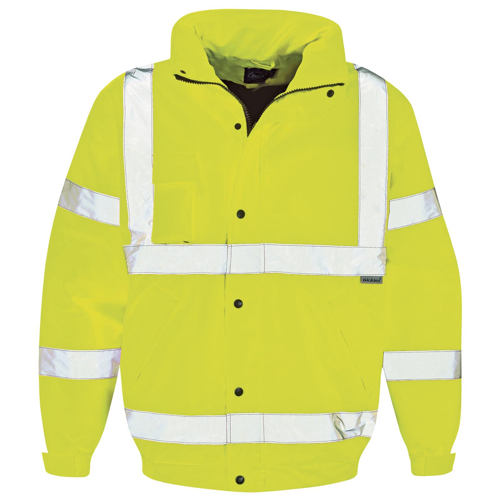 New DICKIES Hi Viz Safety Work Bomber Jacket in Fluorescent Yellow ...